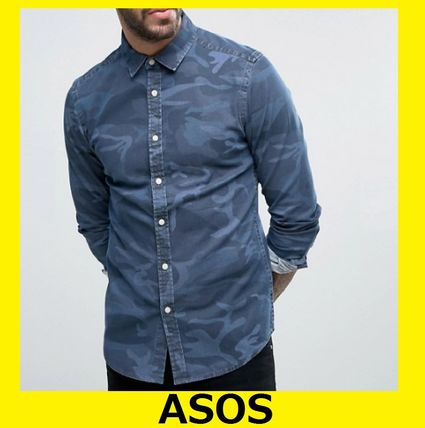 #ASOS long sleeve skinny denim # t-shirt Camo