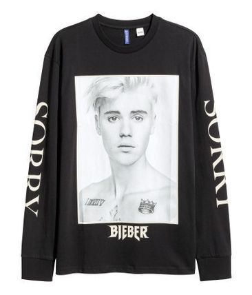 H&M Tシャツ・カットソー SS17 H&M JUSTIN BIEBER PURPOSE TOUR L/S PAINTED TEE 送料無料