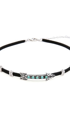 Velvet Choker with Gothic Alloy Arrow and Turquoise Bead
