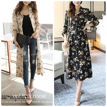 Cute Korea spring floral print long-length gown dress 2