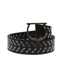 Salvatore Ferragamo(サルヴァトーレフェラガモ) ベルト ☆国内発☆Salvatore Ferragamo/Gancio Black Perforated Belt