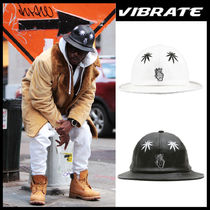 VIBRATE(バイブレート) ストローハット VIBRATE正品★BUCKET leather ストローハット バケットハット2色