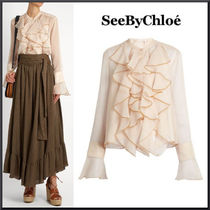 See By Chloe Ruffle-trimmed crepon blouse 関税送料込み