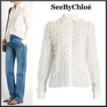 See by Chloe(シーバイクロエ) ブラウス・シャツ See By Chloe High-neck lace-insert blouse 関税送料込み
