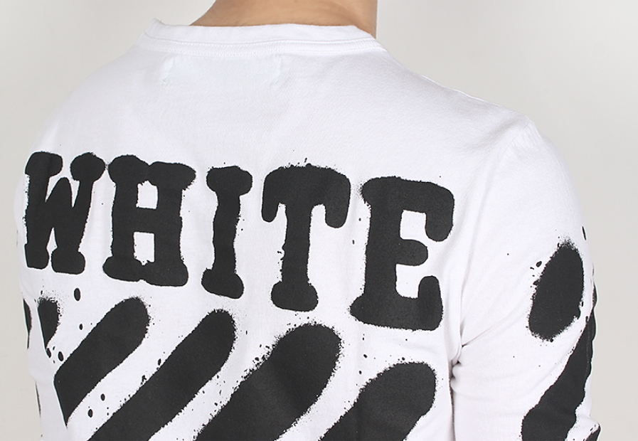 Off-White ★ DIAG SPRAY LONG SLEEVE TEE WHITE