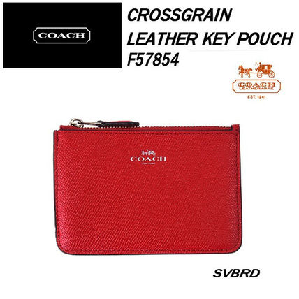 COACH Crossgrain Leather Key Pouch F57854 カードケース
