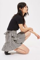 《フリル&リボン♪》☆TOPSHOP☆Gingham Frill Wrap Mini Skirt