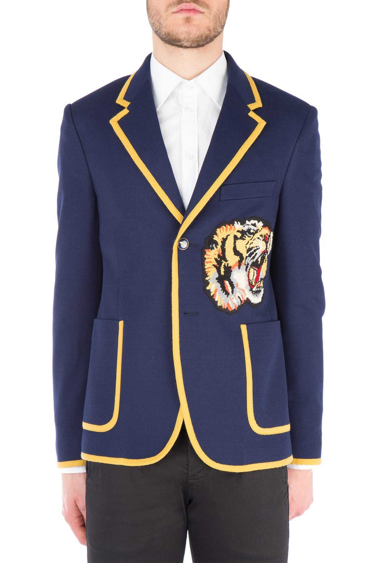 GUCCI(グッチ)☆Embellished blue cotton blazer☆ブルー系