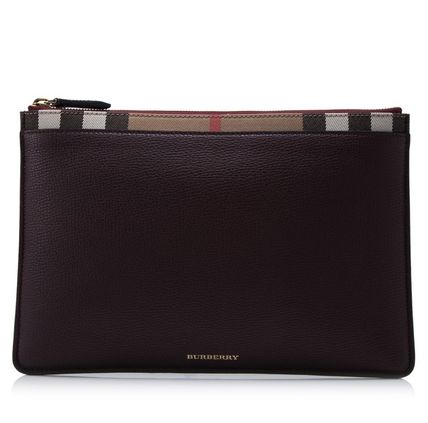 _WINE Burberry 17SS House Check leather clutch bag
