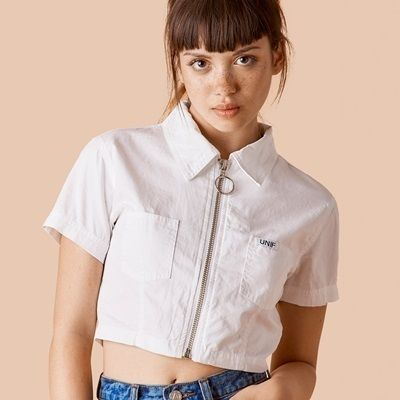 UNIF CASS TOP WHITE zip cropped blouse