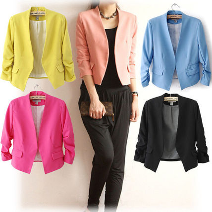 From simple design 7-length sleeve jacket short