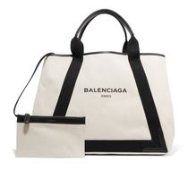 ★関税負担★BALENCIAGA ★CABAS LEATHER-TRIMMED CANVAS TOTE