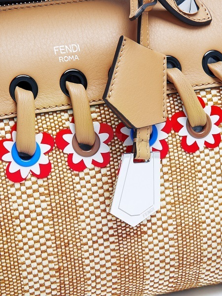 ☆FENDI By The Way straw and leather bag