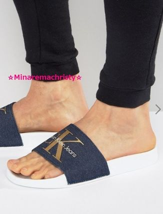 Calvin Klein Blue logo with Slide Sandals