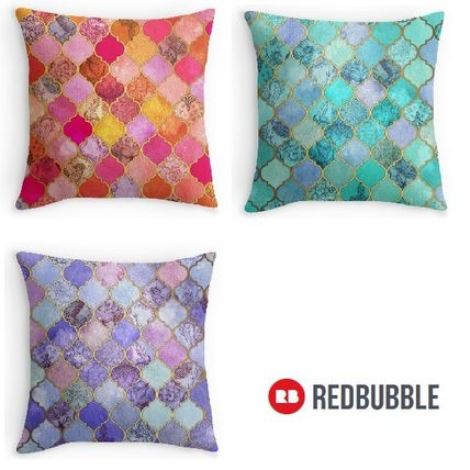 RED BUBBLE Moroccan tile Cushion cover