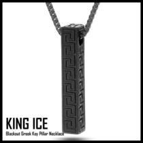 King Ice★Blackout Greek Key Pillar Necklace★送料税込/国内