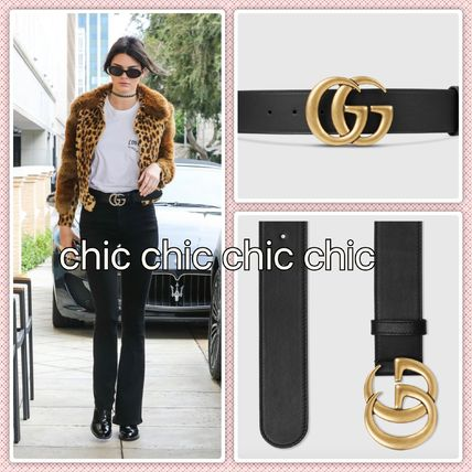Star SS GUCCI leather belt dabble G buckle gold
