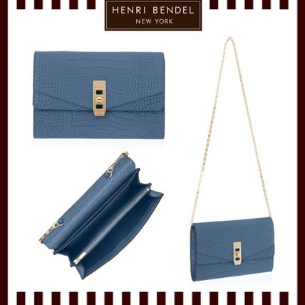 HENRI BENDEL*UPTOWN CROCO WALLET ON A CHAIN