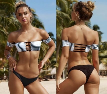 Beach Bunny☆FINE LINES STRIPE OFF SHOULDER 水着 国内発 2017