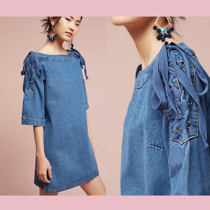 Anthropologie sale Ribbon with denim dress Denim