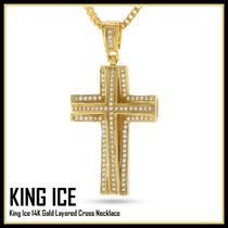 King Ice 14K Gold Layered Cross Necklace★送料税込/国内発送