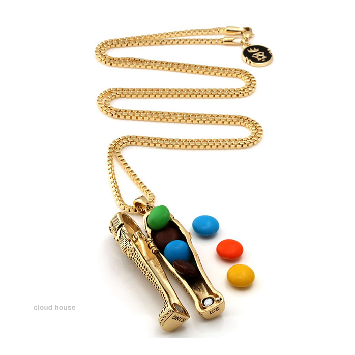 【King Ice】14K Gold Tut Coffin Necklace★送料税込/国内発送
