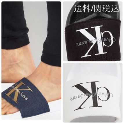 Shipping / Calvin Klein Sandals denim touch logo with