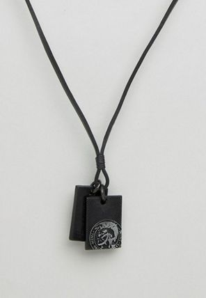 DIESEL A-Neck Sunrise Up Leather Dogtag Necklace