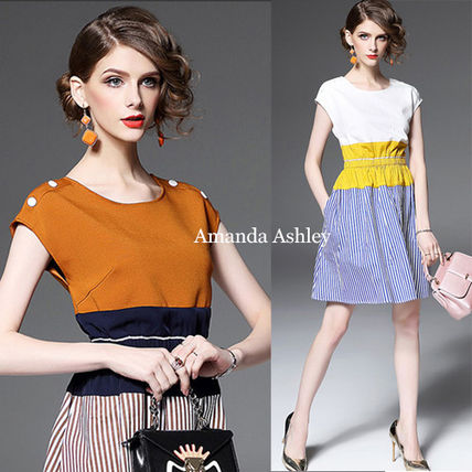 Colorblock & stripe pattern with dress