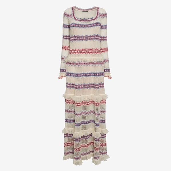 ☆ Alexander McQueen JACQUARD & LACE KNITTED LONG DRESS