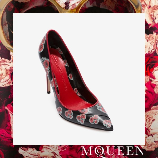 ☆ Alexander McQueen POPPY PRINT LEATHER PUMP