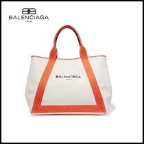 【BALENCIAGA(バレンシアガ)】 leather-trimmed canvas tote