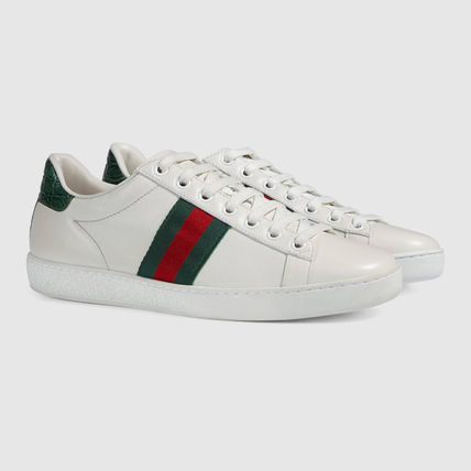 Gucci Web detail leather sneakers white