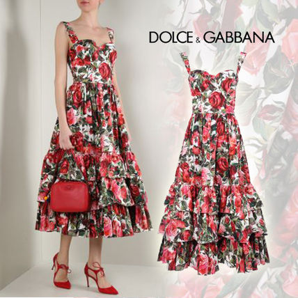 2017 SS Dolce & Gabbana a pretty rose pattern mid-length