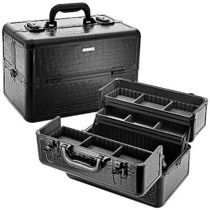 SEPHORA COLLECTION Embossed Traincase ? Black Faux Croc