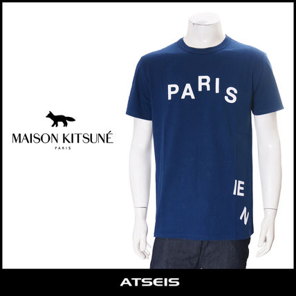 MAISON KITSUNE short sleeve T shirt PARISIEN dark blue