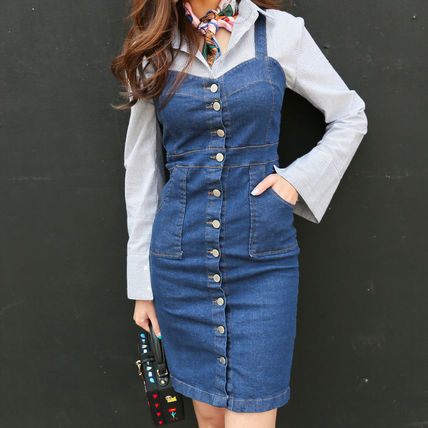 2 color girly and sexy corset fit denim dress
