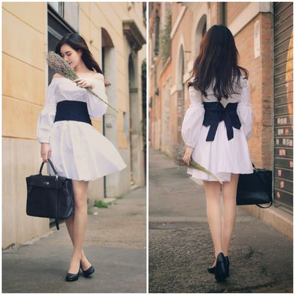 Korea Ribbon corset style waist A line off shoulder dress