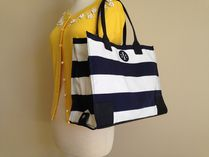 Tory Burch  Ella Packable Tote  Navy Bar stripe 即発送
