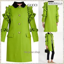 【国内発送】GUCCI★Ruffle-trimmed single-breasted wool coat