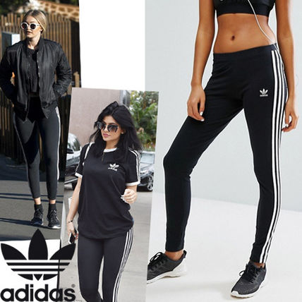 -Adidas-Original popular 3 line Leggings Black x white line