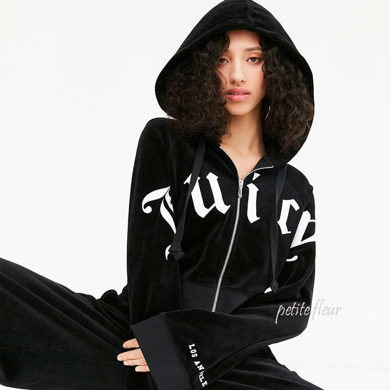 JUICY COUTURE For UO*キアラフェラーニ着用*ベロア パーカー/黒