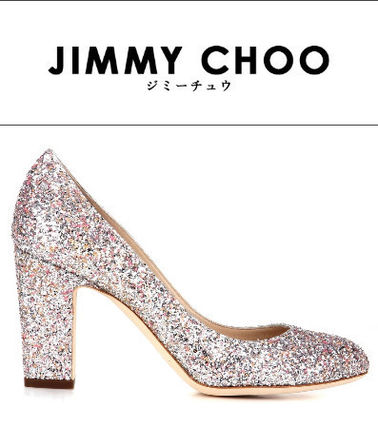 Featured Jimmy Choo glitter chunky pumps pink