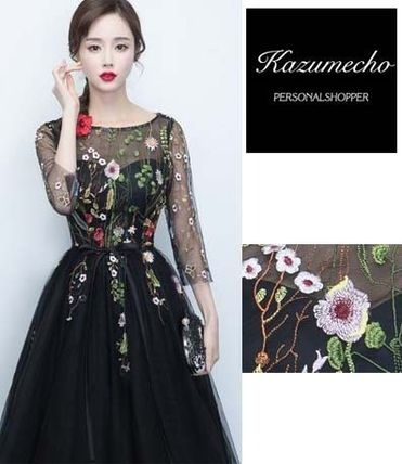 See-through top 7 sleeve knee-length floral embroidered