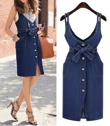 Front slit denim Ribbon dress