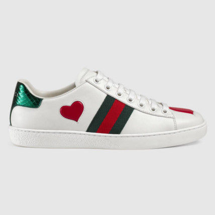With GUCCI * heart white sneaker * leather * snake