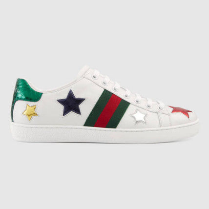 With GUCCI * star white sneaker * leather * snake