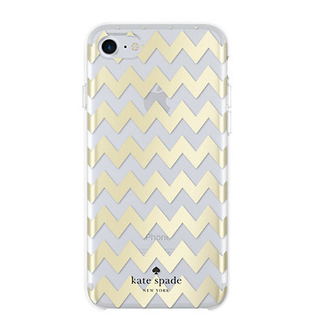 【kate spade】iPhone 7 ケース chevron gold foil