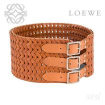 LOEWE★ロエベ Large Woven Belt Old Palladium/Dark Brown