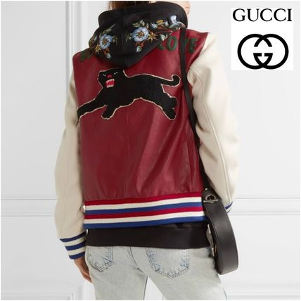 GUCCI applied leather & wool bomber jacket